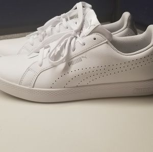 Puma Smash white and silver sneakers